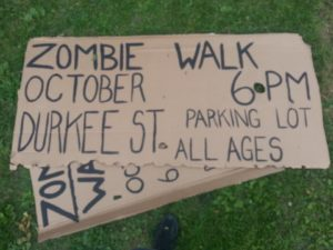 Poster made by Kimberly Cummins for the Plattsburgh Zombie Walk