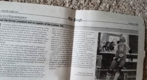 Newspaper Clipping from the Burgh featuring opinion piece written by Kimberly Cummins