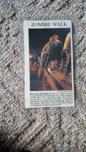 Clipping of photograph in the Press Republican of the first Plattsburgh Zombie Walk