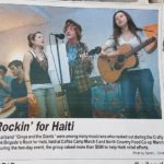 local fundraising effort coverage in the burgh magazine featuring three people singing
