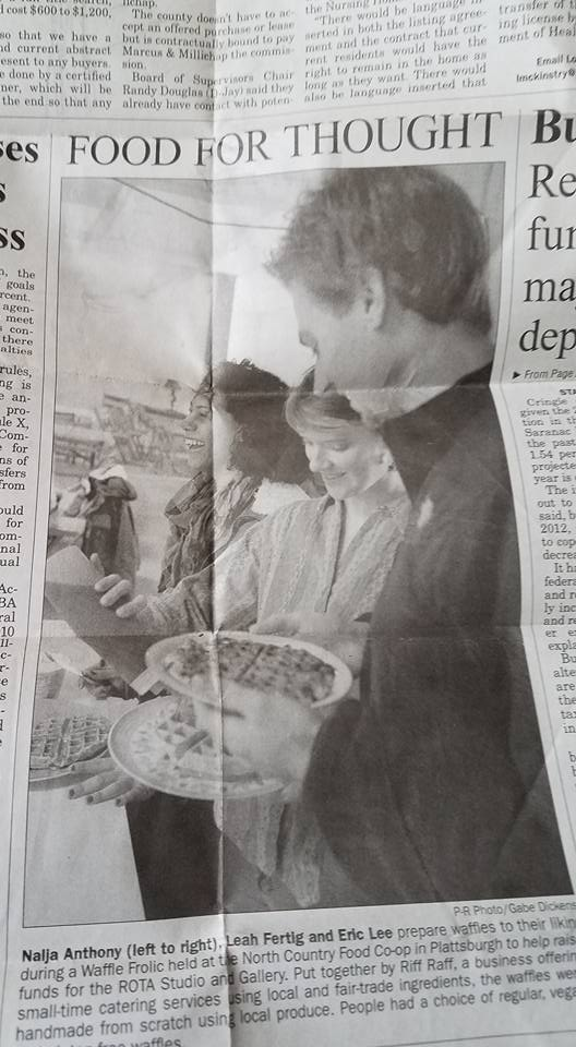 Press Republican clipping from the Plattsburgh Waffle Frolic