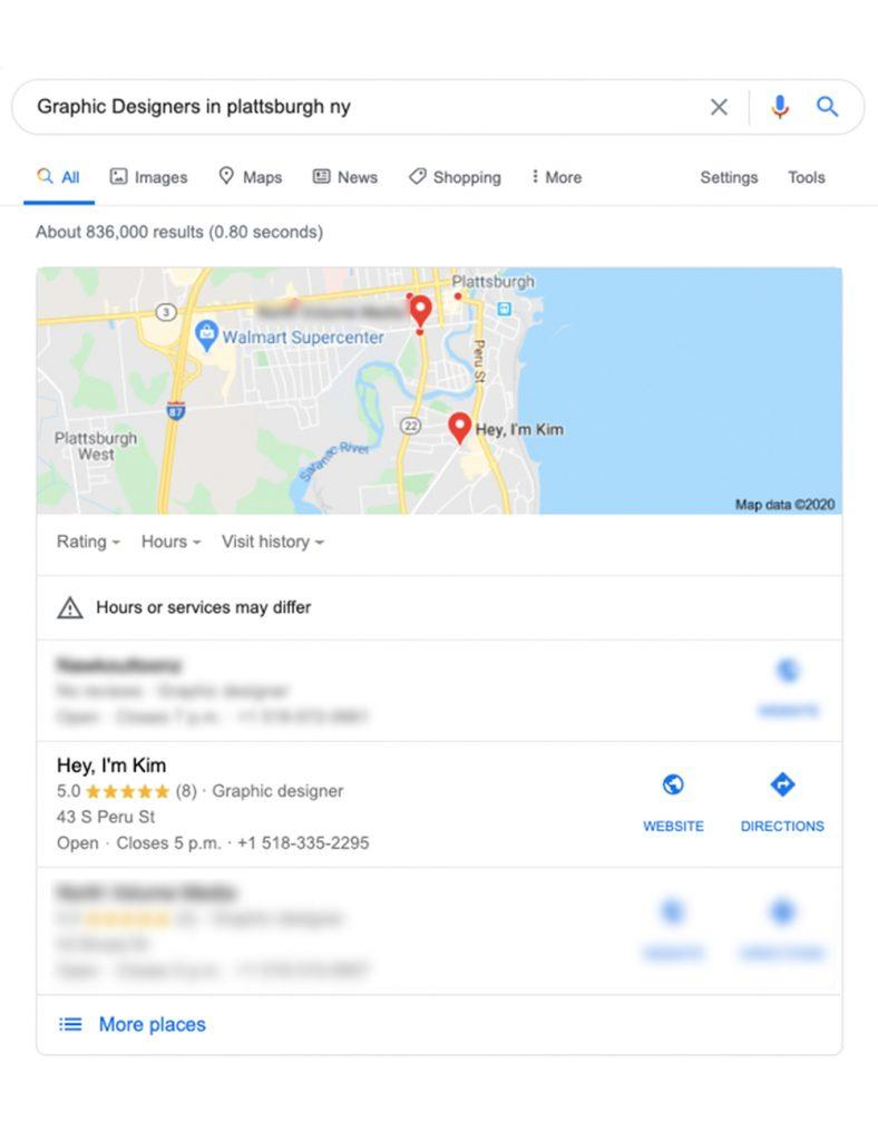 Google map displaying three business listings below
