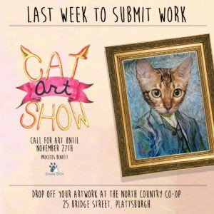 Hey,I'm Kim Facebook post for Cat art show Rouses Point Graphic Designer Highest Rated