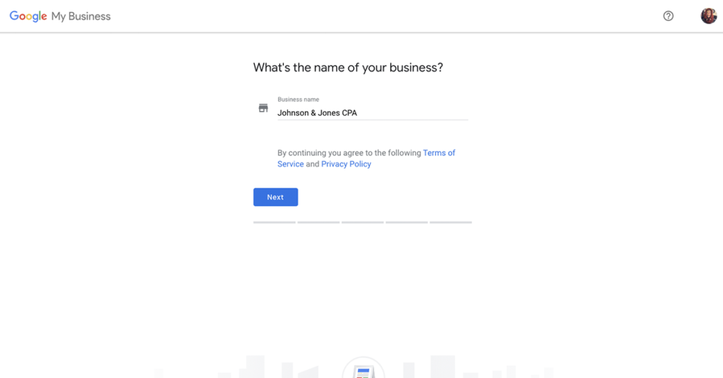 a pop up from google my business asking you to first enter your businesses name