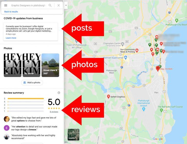 Google map listing showcasing posts, photos and reviews