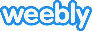 Weebly written in bubble letters with a blue 5px stroke outlining the letters.