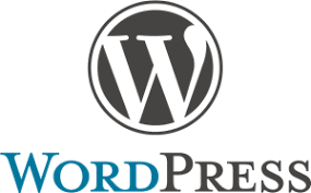 Wordpress logo with serif w in black circle with the text wordpress written below