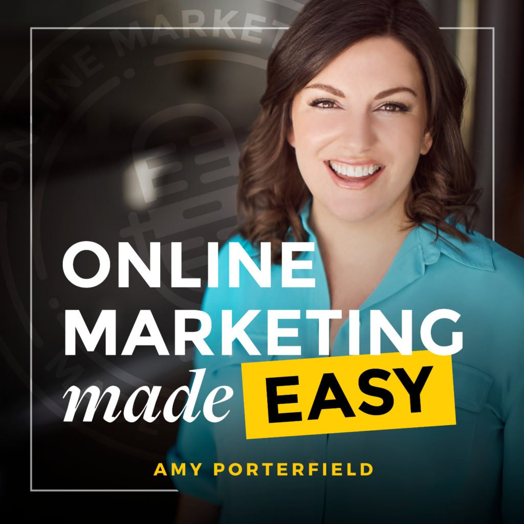 Screencapture of podcasting app featuring the image of online marketing maven, Amy Porterfield