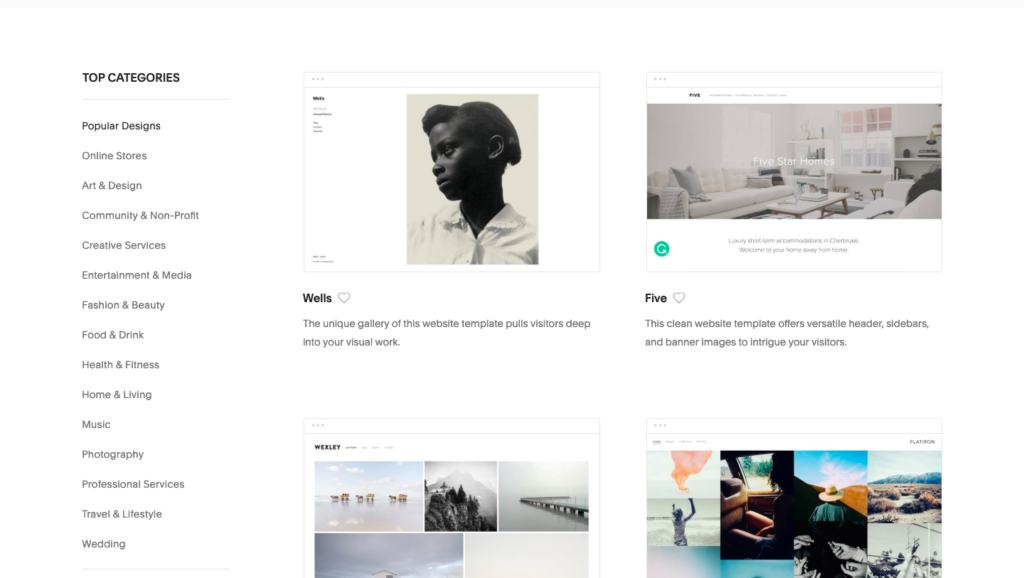 templates offered on squarespace for websites and blogs