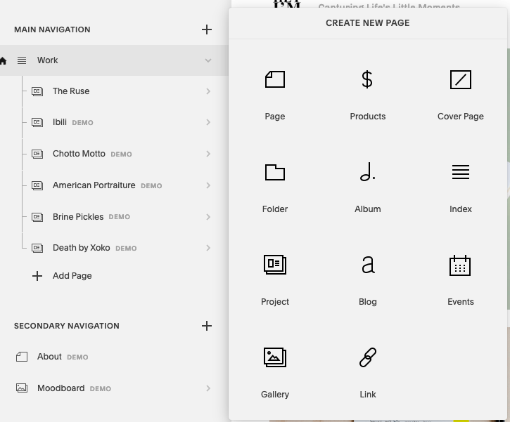 squarespaces back end showing how to add a page