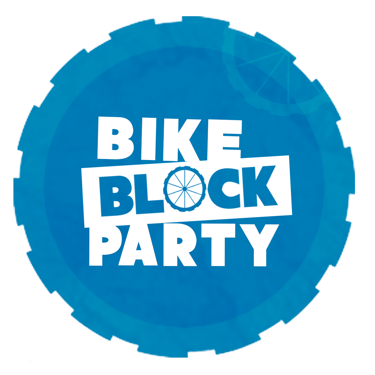 Bike Block Party Logo inside of blue gear