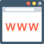 www website design browser interface in grey and blue