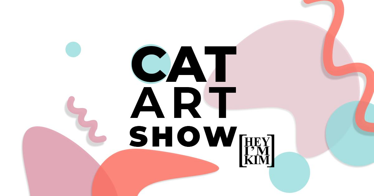 colorful pastel shapes in the background with cat art show written in the foreground