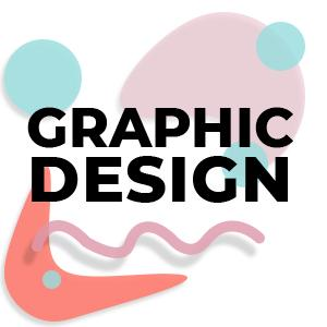 clickable image with colorful shapes and the words graphic design written in sans serif font