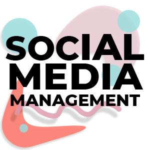 clickable image with colorful shapes and the words social media management written in sans serif font