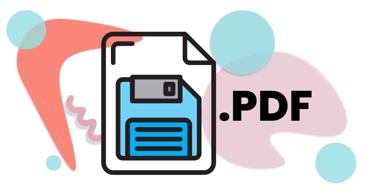 .pdf logo written over colorful abstract shapes